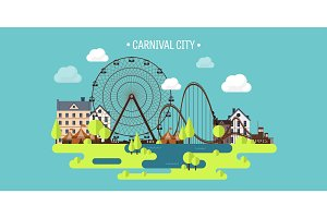 Vector illustration.Spring, summer. Ferris wheel. Carnival. Funfair background. Circus park.  Skyscrapers with roller coaster.
