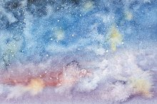 Night sky with stars hand drawn watercolor.