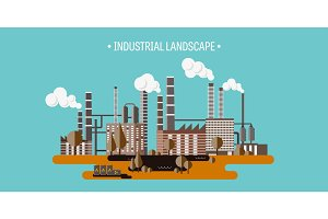 Vector illustration. Urbanization. Industrial revolution. Pipe. Air pollution. Oil and gas, fuel.