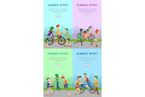 Children Going in for Sport Web Banner Poster Set