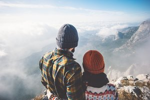 Couple hugging with mountains view
