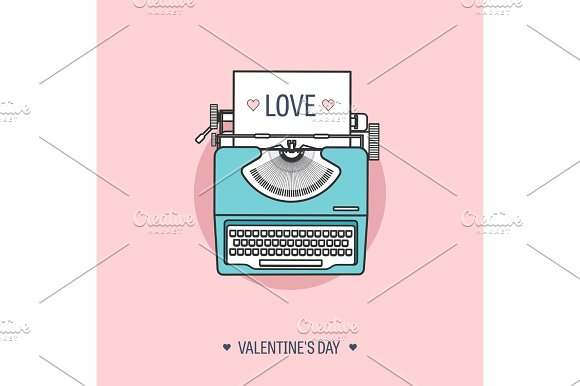 Vector Illustration Flat Background With Typewriter Love Hearts Valentines Day Be My Valentine 14 February
