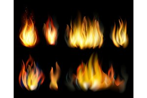 Fire. Realistic elements  set.