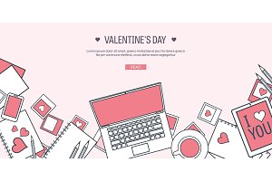 Vector illustration. Flat background with computer, laptop. Love, hearts. Valentines day. Be my valentine. 14 february.  Message.