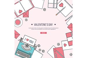 Vector illustration. Flat background with typewriter. Love, hearts. Valentines day. Be my valentine. 14 february.