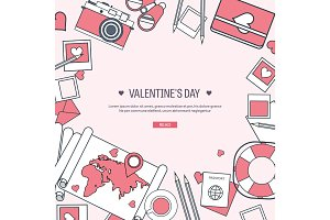 Vector illustration. Flat travel background with map, photocamera,papers. Love, hearts. Valentines day. Be my valentine. 14 february.  Message.