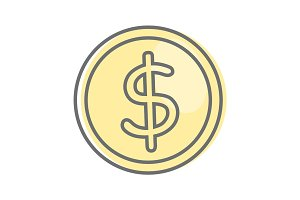 Money Sign Isolated. Dollar Coin. Video Marketing.