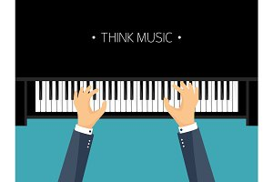 Vector illustration. Musical flat background. Piano key, keyboard. Melody. Instrument. Hands.