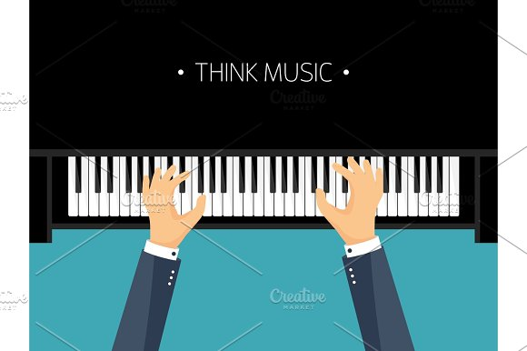 Vector Illustration Musical Flat Background Piano Key Keyboard Melody Instrument Hands