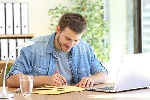 Entrepreneur writing address