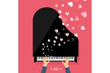 Vector illustration. Musical flat background with hearts. Love. Piano key, keyboard. Melody. Instrument.