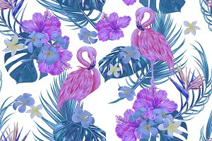 Flamingos,jungle leaves pattern