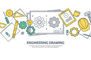 Lined, outline. Vector illustration. Engineering and architecture. Drawing, construction. Architectural project. Design, sketching. Workspace with tools. Planning, building.
