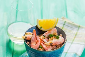 Shrimps in blue bowl