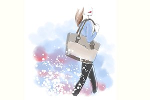 Watercolor woman with hand bag