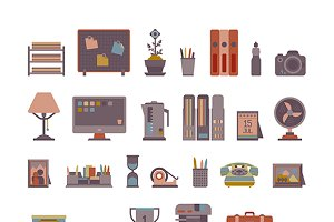 Office workplace elements iconset