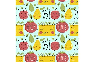 Bio food seamless pattern with fruit characters