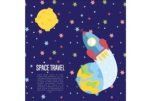 Space Travel Cartoon Vector Web Page Template