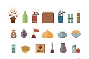 Interior objects flat iconset