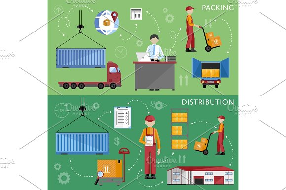 Warehouse process infographics vector illustration