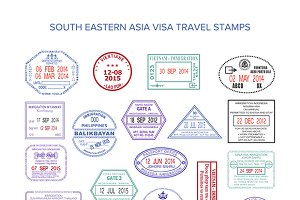 Visa stamps of south eastern asia