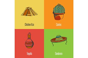 Mexican National Symbols Vector Icons Set
