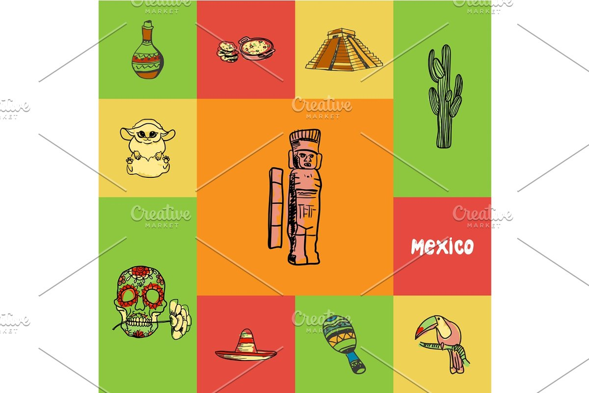 Mexico Squared Doodle Vector Concept in Illustrations