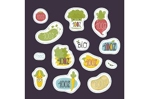 Organic, eco and bio food labels set.