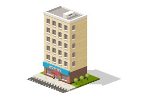 Vector isometric icon representing store or shopping center building with trees nearby