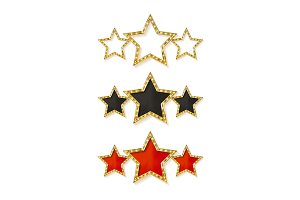 Three gold stars, vector set