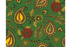 Damask seamless pattern with flowers in Indian style. Floral vector wallpaper. Green Textile texture