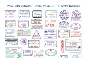 Western europe visa travel stamps