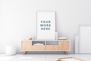Poster with white Frame PSD Mockup