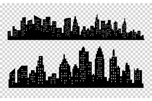 Vector black city silhouette icon set isolated on white background