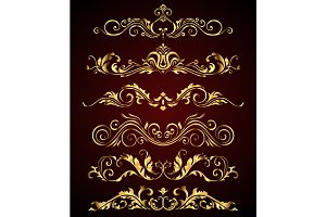 Golden vintage elements and borders set for ornate decoration. Floral swirl design spa royal logo