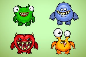 Set of Four Funny Monsters