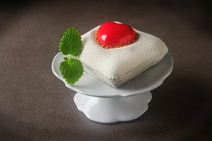 Delightful, luxury mousse cake in the form heart. Valentine's Day on February 14.