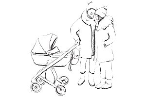 Young parents with newborn baby