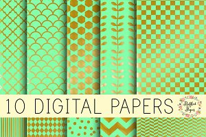 Mint and Metallic Digital Paper Pack