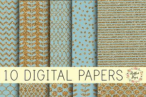 French Blue Digital Paper Pack