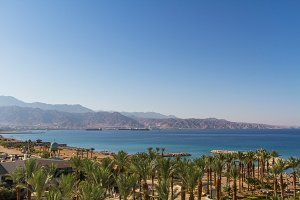 Panoramic view on the central beach of Eilat .