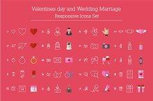 Valentines, Wedding Responsive Icons