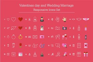 Valentines, Wedding Responsive Icons