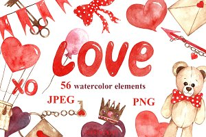 56 watercolor elements love