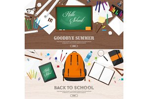 Back to school flat background. Online education and study. Teacher, student. September 1.