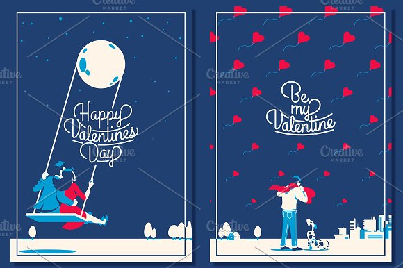 5 Valentine's Day Romantic Cards in Illustrations - product preview 1