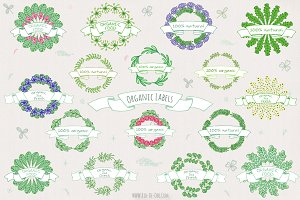 Hand drawn 16 Organic Labels&Badges