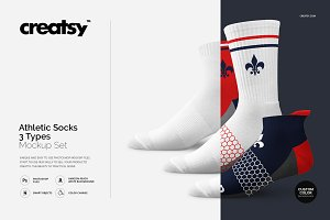 Athletic Socks 3 Types Mockup Set