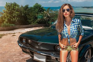 Girl with muscle car