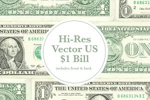 Hi-Res Vector $1 USD Front & Back